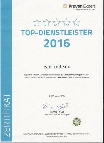 Auszeichnung - ean-code.eu