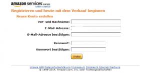 Registrierung bei Amazon ameldung